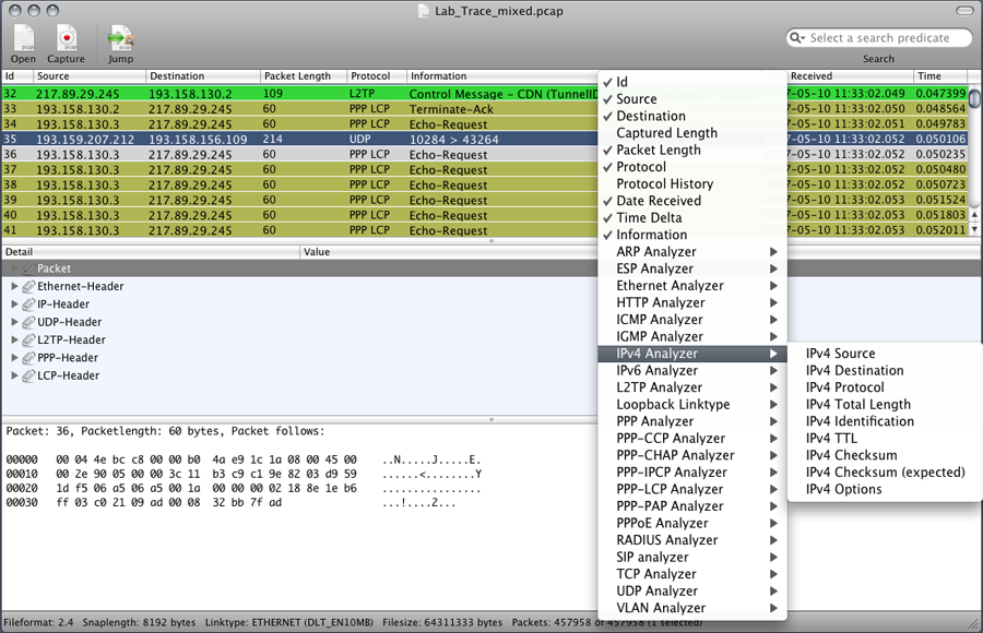 Cocoa Packet Analyzer